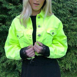 Zara Neon Cropped Jean Jacket Sz S